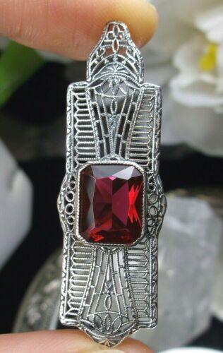 Sim Red Ruby Art Deco/Edwardian Sterling Silver Filigree Pendant Custom-Made)*