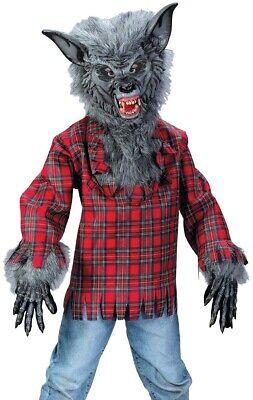 Werewolf Costume Childs Boys Silver Gray Grey Deluxe Cosplay Were Wolf Warewolf