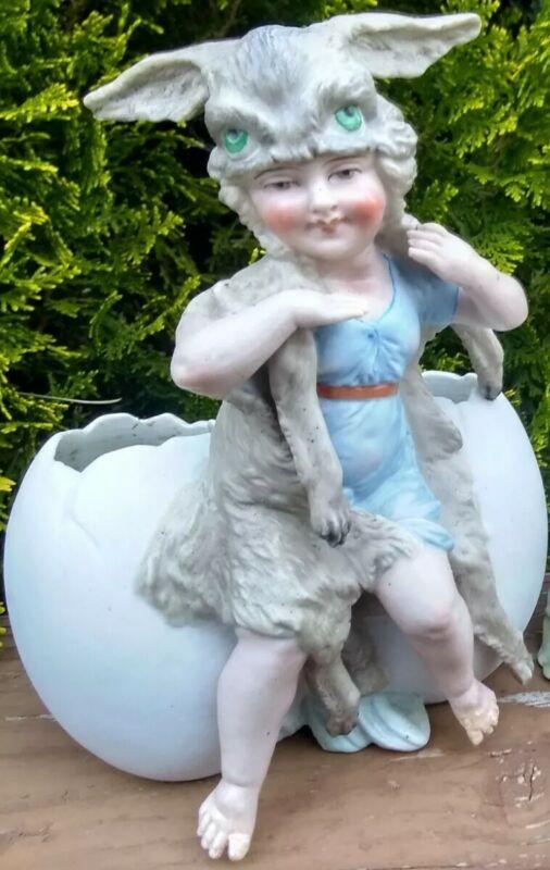 Ostara Hare Goddess fairy bisque Double Egg Antique German Rabbit Easter Bunny