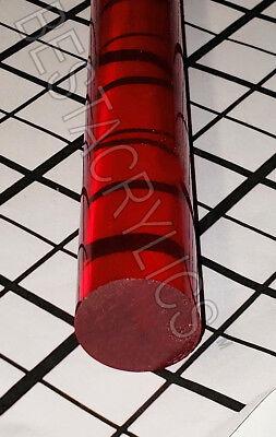 1 Diameter X 18 Inch Long Clear Translucent Red Acrylic Plexiglass Lucite Rod