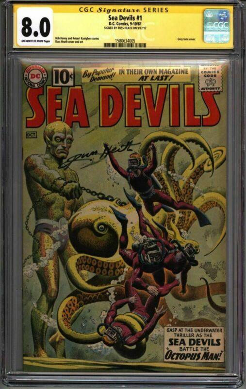 * SEA DEVILS #1 (1961) CGC 8.0 Signed Russ Heath Grey Tone! (1580634005) *