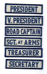 Officer Title Rank Vest Patches President VP MC Biker club Patch (6pc-MTA11)