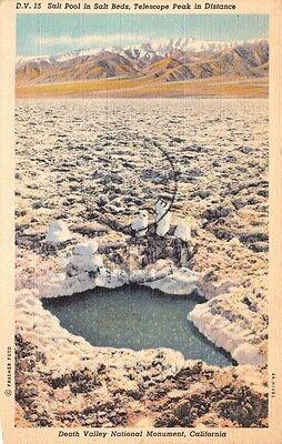 Death Valley Ca Salt Pool Salt Beds Telescope Park National Montmt Postcard 1943