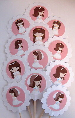 First Communion Cupcake Toppers/Party Picks  Item #1027 - First Communion Cupcakes