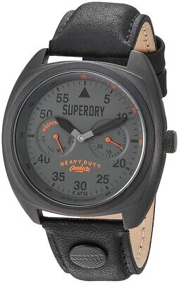 Superdry Mens Analogue Quartz Watch with Black Leather Strap SYG229BB