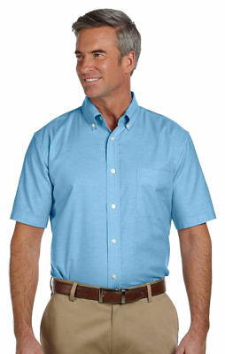 Harriton Men's Stain Release Left Chest Pocket Short Sleeve Oxford Shirt. (Button Down Chest Pocket Oxfords)