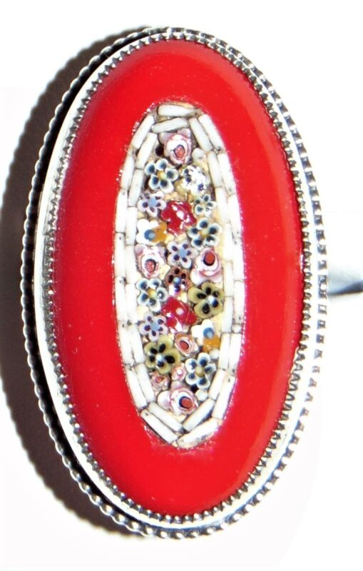 Antique Ring Micro Mosaic Sterling Silver Carnelian? Size 5 1/4 ~Statement Ring!