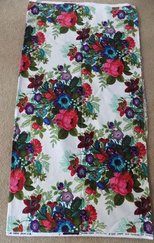 "3 Yards Vintage Screen Printed Floral Fabric 50"" Wide"