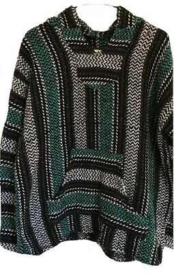 Baja Joe Hoodie Sweatshirt Mens Size M Medium Green Hippy Style Kangaroo Pockets Green Kangaroo Hoody Sweatshirt
