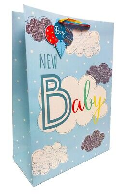 Baby Gift Bag Boy New Blue Extra Large Present Wrap Arrival Birth Newborn +Tape - Extra Large Baby Gift Bags