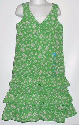 The Childrens Place Girls Sleeveless Tiered Floral Dress Green & White 6X/7 NWT