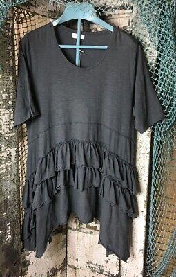 Krista Larson Smoke Short Sleeve Ruffle Top Rare Style in S/S NWT Cotton Jersey