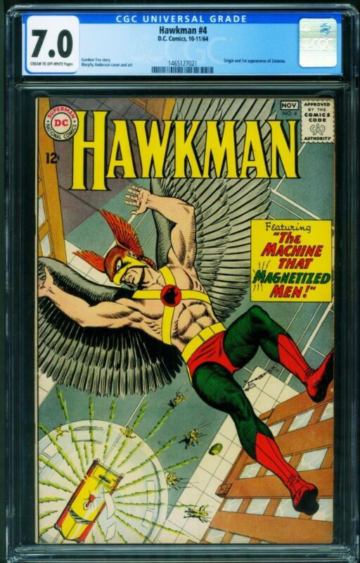 Hawkman #4 1964 - CGC 7.0- 1st ZATANNA- justice league dark - 1465127021