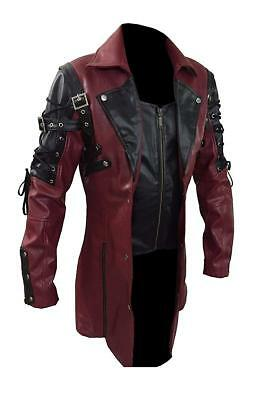 Gothic Coats Mens (Men's Steampunk Gothic Leather Trench Coat Jacket Goth Punk)