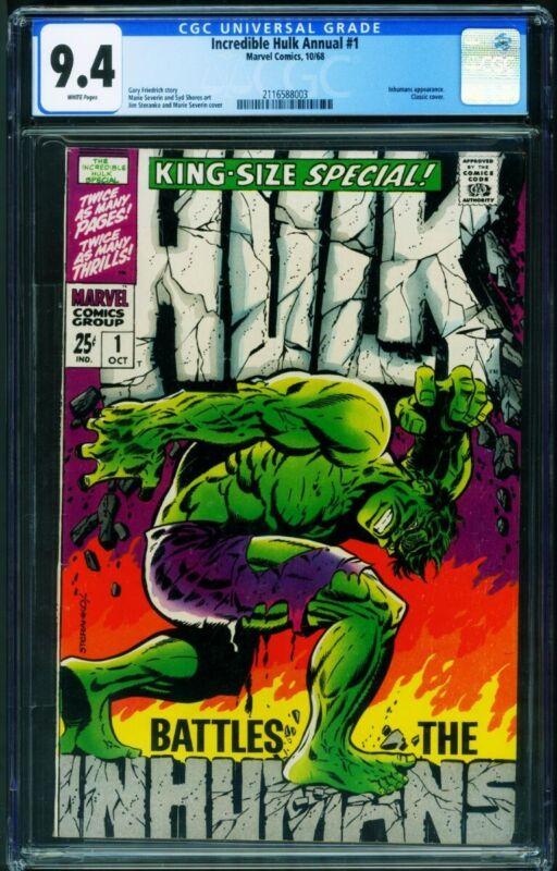 INCREDIBLE HULK ANNUAL #1 CGC 9.4-1968 Marvel Inhumans Steranko 2116588003