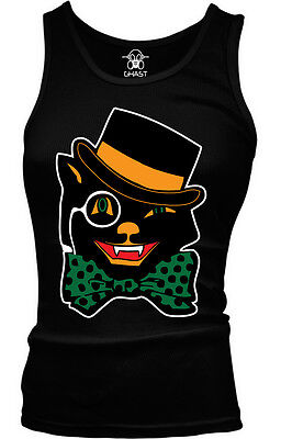 Black Cat Bow Tie Top Hat Halloween Monocle Trick Treat Candy Eye Girls Tank Top