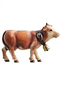 Cow-forward-look-statue-wood-carving-for-Nativity-set-mod-912