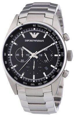 EMPORIO ARMANI Men AR5980 Chronograph S/Steel Bracelet Watch Original Box