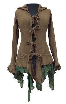Gothic Witchy Pagan Mittelalter Hoodie Kapuze Jacke 44 46 48 braun schwarz grün