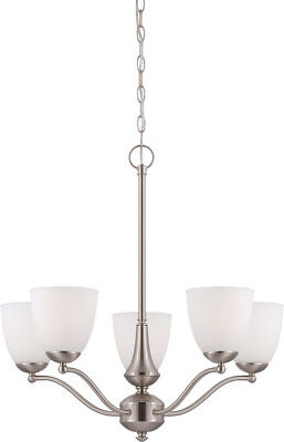 Patton 5 Light LED Brushed Nickel And Frosted Glass Chandelier
