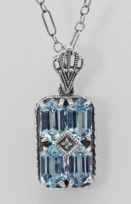 Art Deco Style Blue Topaz Filigree Diamond Pendant 18