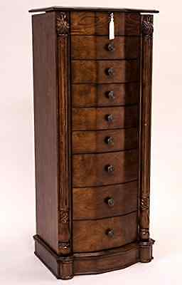 8 Drawer Large Floor Standing Wooden Jewelry Armoir Furnitur