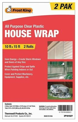 Frost King House Wrap Clear 10x15 Ft- 2 Rolls