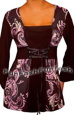 PH2 FUNFASH PLUS SIZE CORSET STYLE BLACK PURPLE WOMENS TOP SHIRT BLOUSE 1X 18 - 1 Corset Shirt