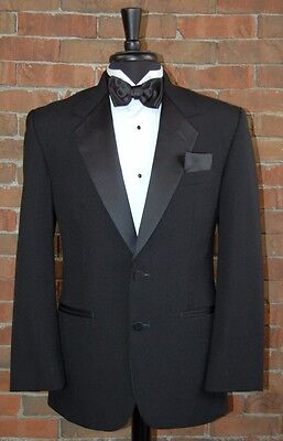 MENS 42 S BLACK 2 BUTTON NOTCH COMPLETE TUXEDO JACKET / PANT / SHIRT / BOW TIE