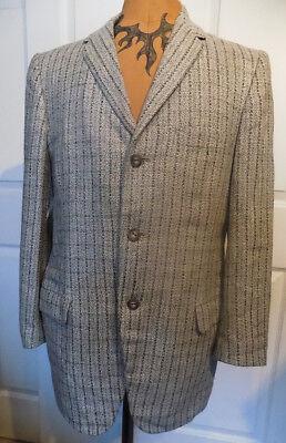 Vintage 40s 50s Gray Tweed Three Button Jacket Blazer Benhil Shops C42