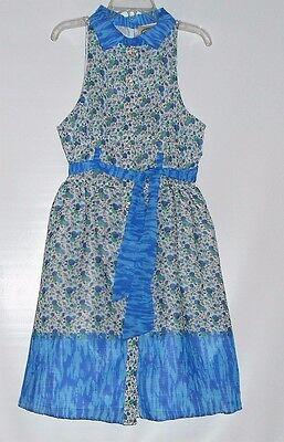 Pink Vanilla Girls Sleeveless Front Button Chiffon Belted Dress Blue Seven (7)
