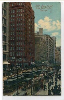 State Street From Washington Streetcars Chicago Illinois 1910C Postcard