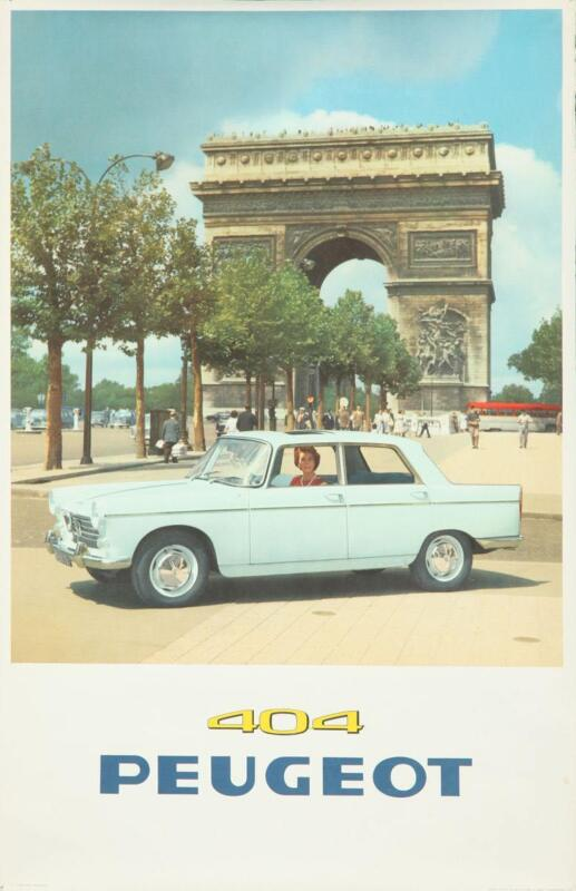 PEUGEOT 404 CAR 1960 vintage French advertising poster 25x39 CHAMPS ELYSEES