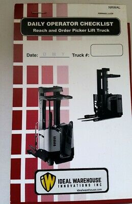 Daily Operator Checklist Reach And Order Picker Lift Truck Paper Rg1622