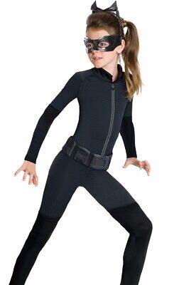 Catwoman Costume Girls Childs Kids Batman Cat Woman- S 4-6, M 8-10, L 12-14