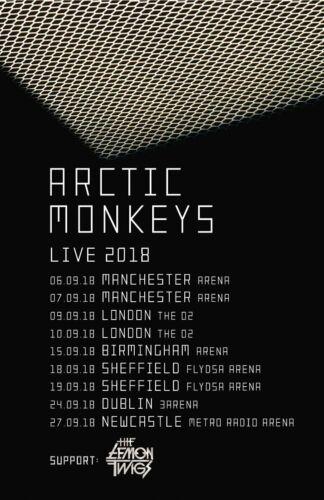 "ARCTIC MONKEYS ""LIVE 2018"" UK CONCERT TOUR POSTER - Indie / Garage / Psych Rock"