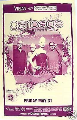 """GARBAGE 2002 """"BEAUTIFUL GARBAGE TOUR"""" SAN DIEGO CONCERT  POSTER + HANDBILL"""