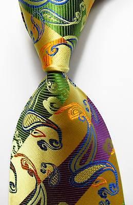 New Paisley Striped Gold Green Purple JACQUARD WOVEN 100% Silk Men's Tie (100% Silk Woven Green)
