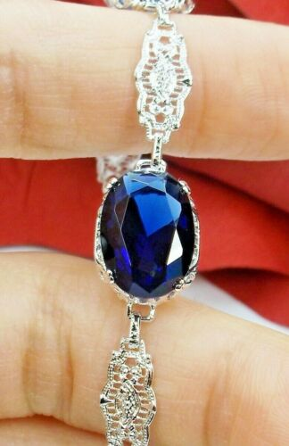 Sapphire Sim Rhodium Edwardian Filigree Bracelet (Custom-Made)*