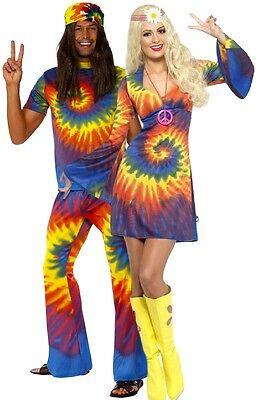 Herren & Damen Paar Batik Hippie 1960s 60s Kostüm (Hippie Paar Kostüm)