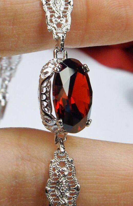 Garnet CZ Rhodium Filigree Edwardian Floral Link Bracelet (Custom-Made)*