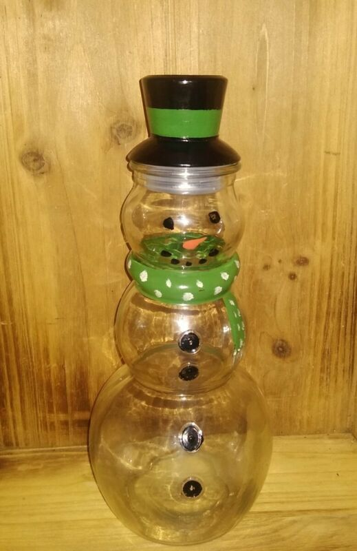 Large Clear Glass Snowman Storage Decanter