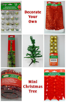 NEW ~ Decorate Your Own Mini Green Christmas Tree Kit! ~ Office desks, tabletops - Office Desk Christmas Decorations