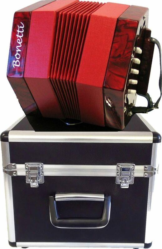 Bonetti 30 Button Red Pearl Concertina Accordion w/Case