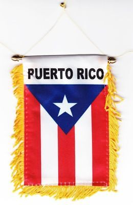 PUERTO RICO MINI BANNER FLAG GREAT FOR CAR & HOME WINDOW MIRROR HANGING 2 SIDED