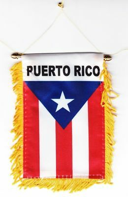 PUERTO RICO MINI BANNER FLAG GREAT FOR CAR & HOME WINDOW MIRROR HANGING 2 SIDED](Banner Flag)