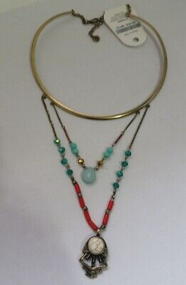 Western Antique Brass Neck Ring Necklace w/ Turquoise Red beads charm Z3A-14/22 Brass Beads & Charm Necklace