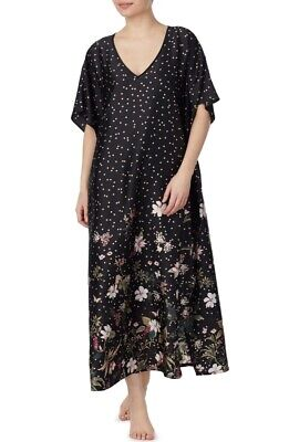 Kate Spade New York Black Botanical Dots Caftan Robe Size L XL NWT