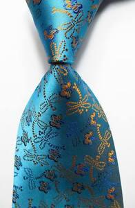 New Classic Novelty Sea Blue Gold JACQUARD WOVEN 100% Silk Men's Tie Necktie