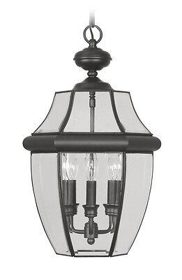 New Livex Monterey 3 Light Outdoor Hanging Lighting Fixture In Black 2355-04 Monterey Traditional Chandelier